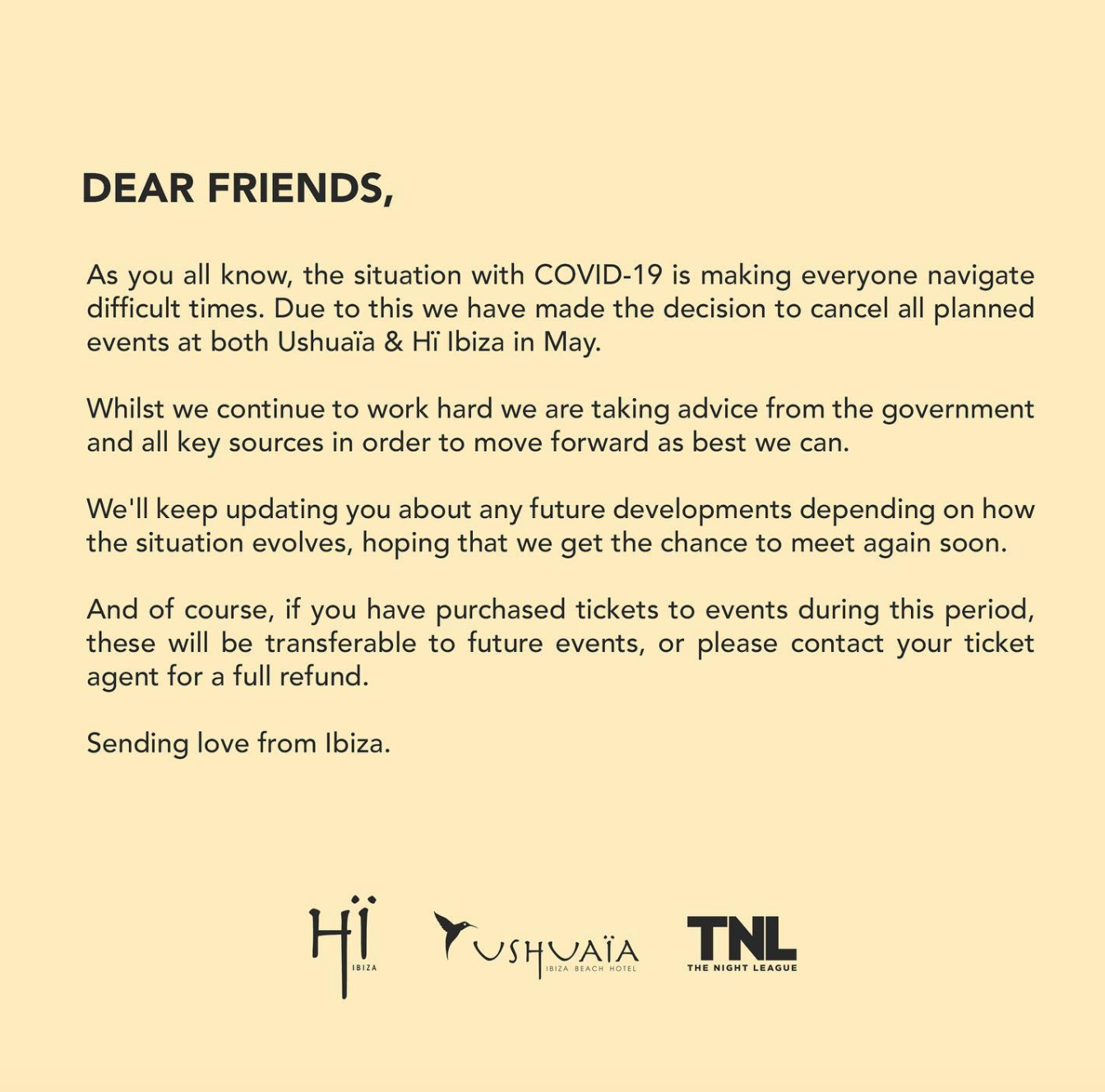 Ushuaïa Ibiza and Hï Ibiza won't open this May, due to Covid-19