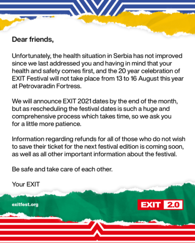EXIT festival is cancelled
