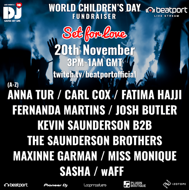 Carl Cox will play a Set For Love to raise funds on World Children's Day !